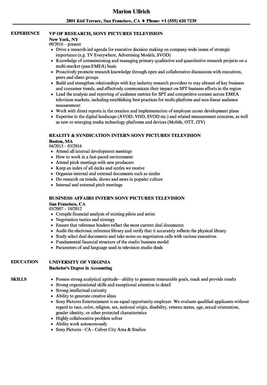 Sony Pictures Television Resume Samples | Velvet Jobs