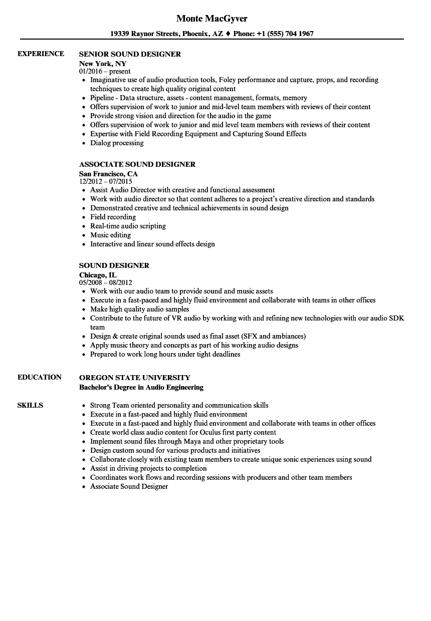 Sound Designer Resume Samples | Velvet Jobs
