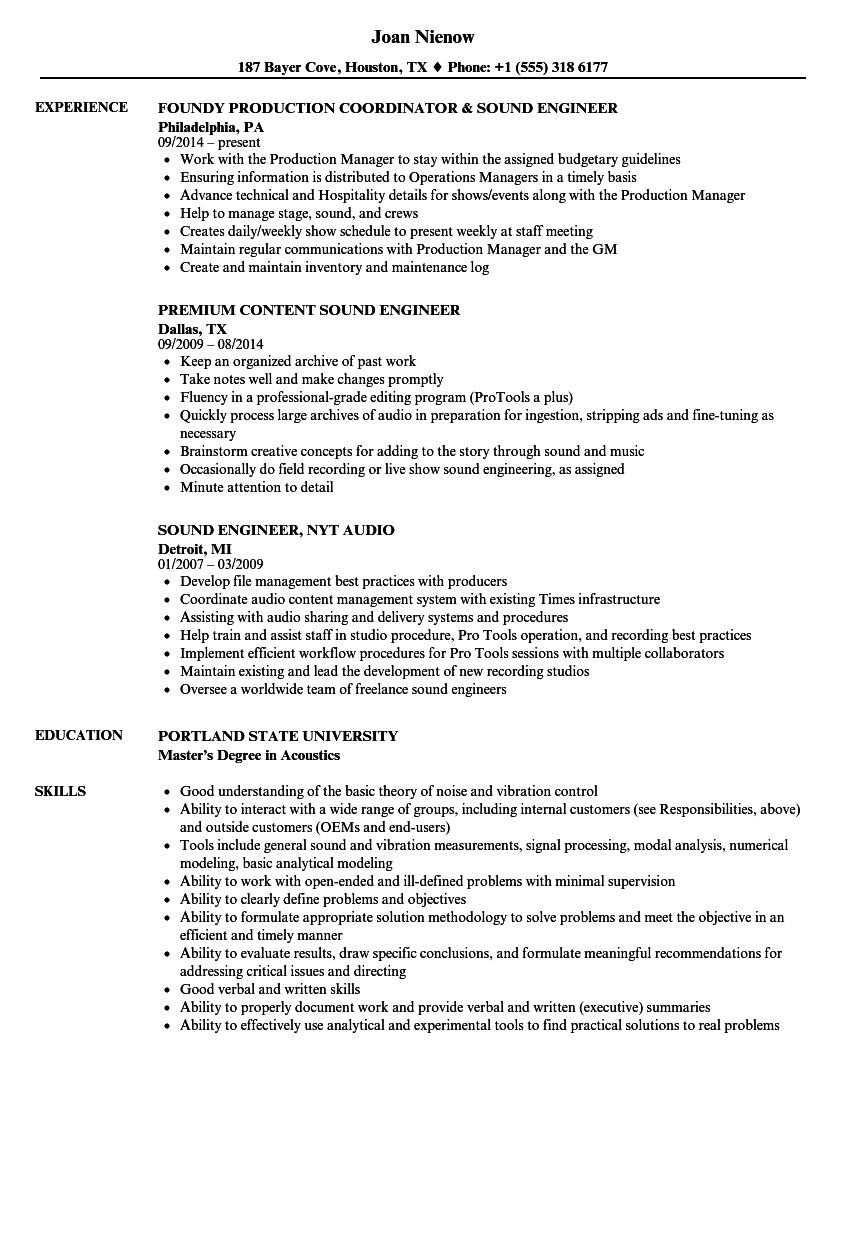 sound engineer resume samples