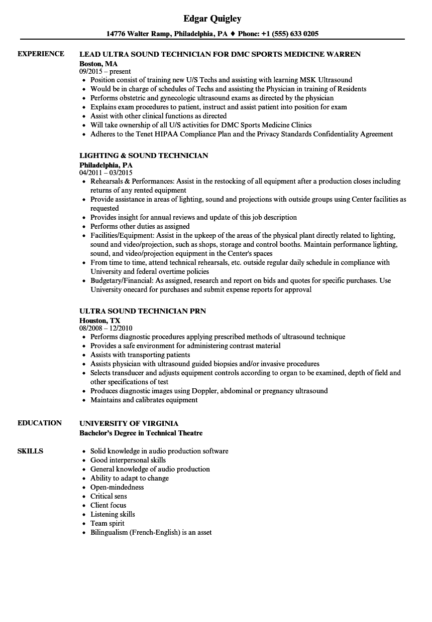 Sound Technician Resume Samples | Velvet Jobs