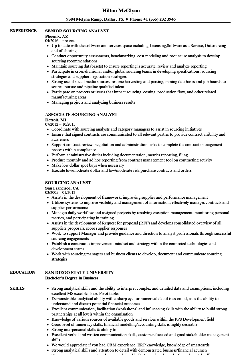 sourcing analyst resume samples