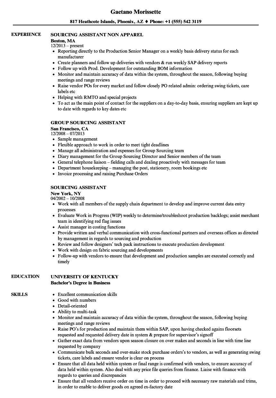 Sourcing Assistant Resume Samples | Velvet Jobs