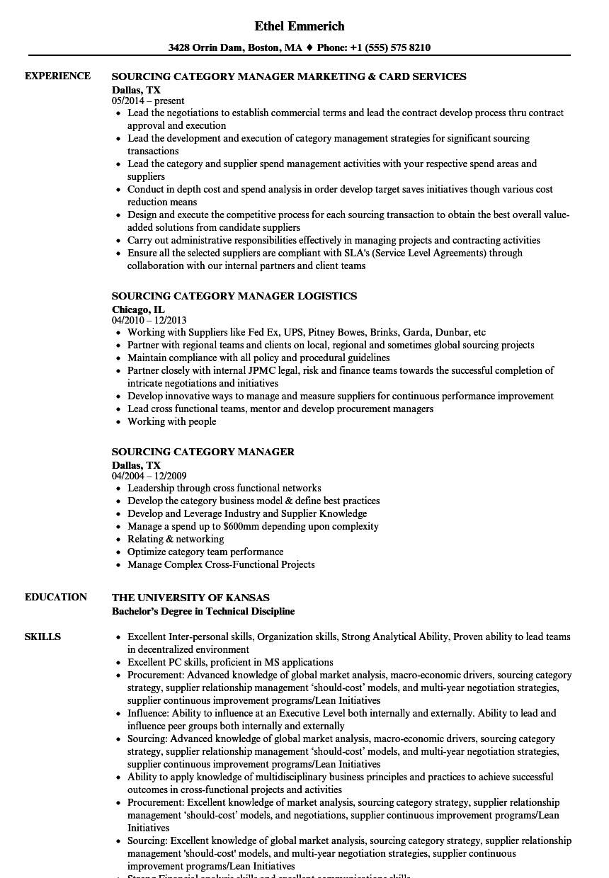 sourcing category manager resume samples