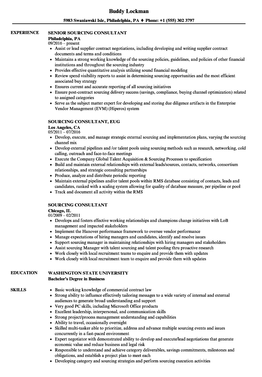sourcing consultant resume samples