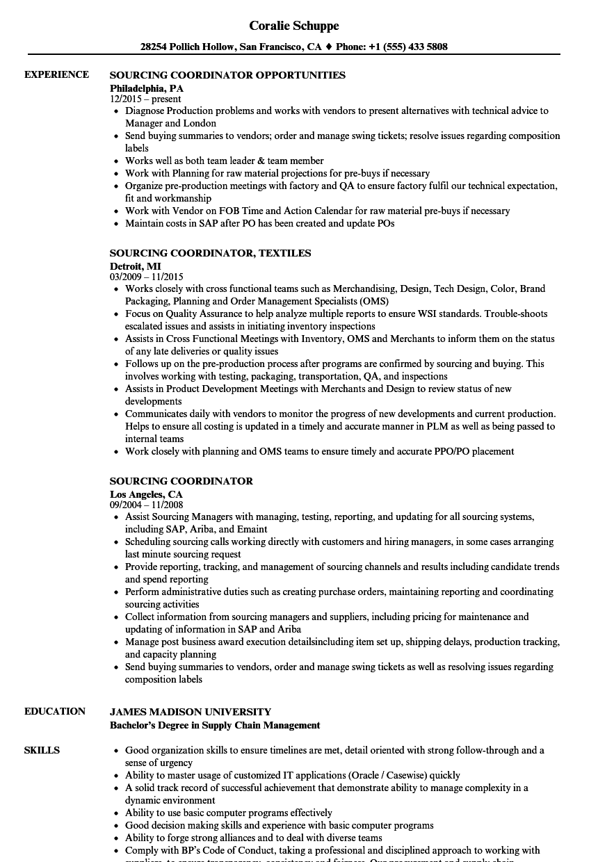sourcing coordinator resume samples