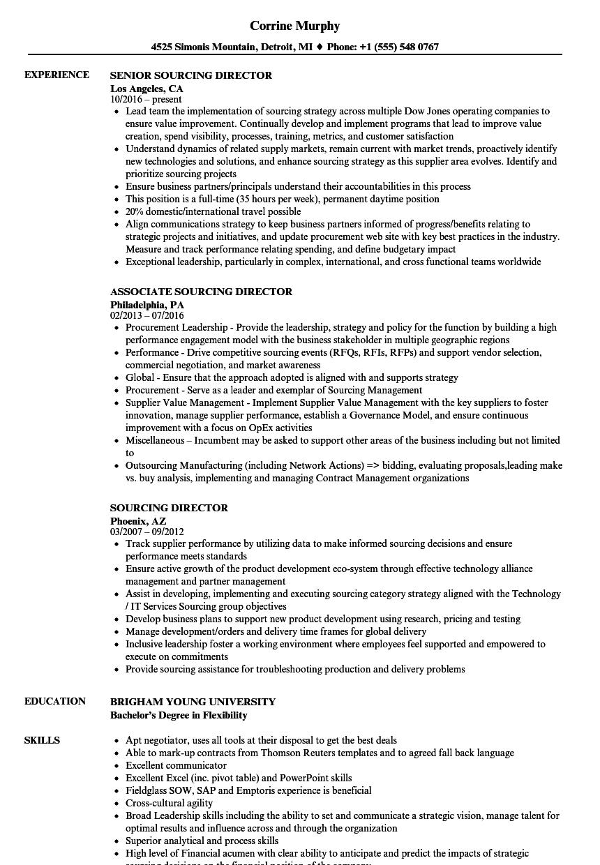 Sourcing Director Resume Samples   Velvet Jobs