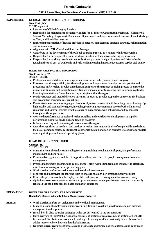 sourcing head resume samples