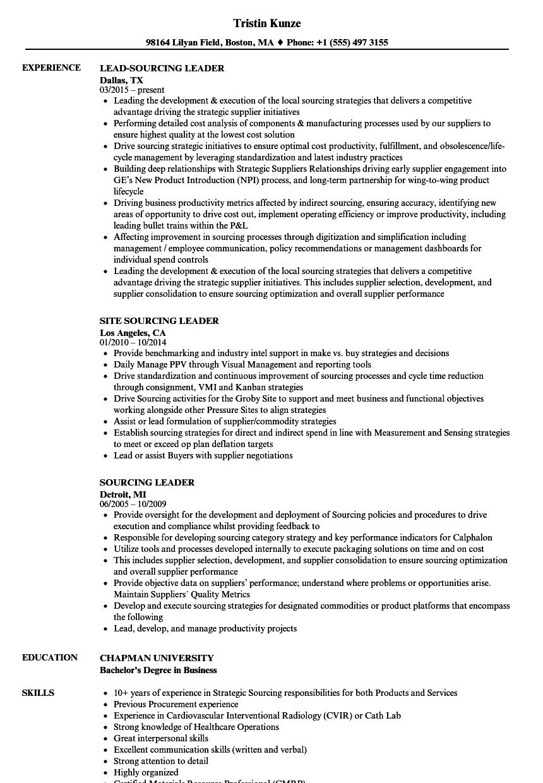 sourcing leader resume samples
