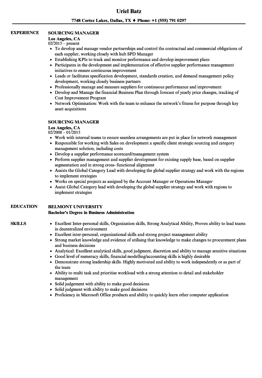sourcing manager resume samples