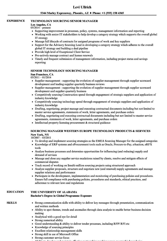 Sourcing Manager, Technology Resume Samples | Velvet Jobs