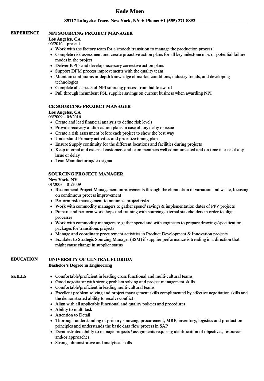 Sourcing Project Manager Resume Samples Velvet Jobs