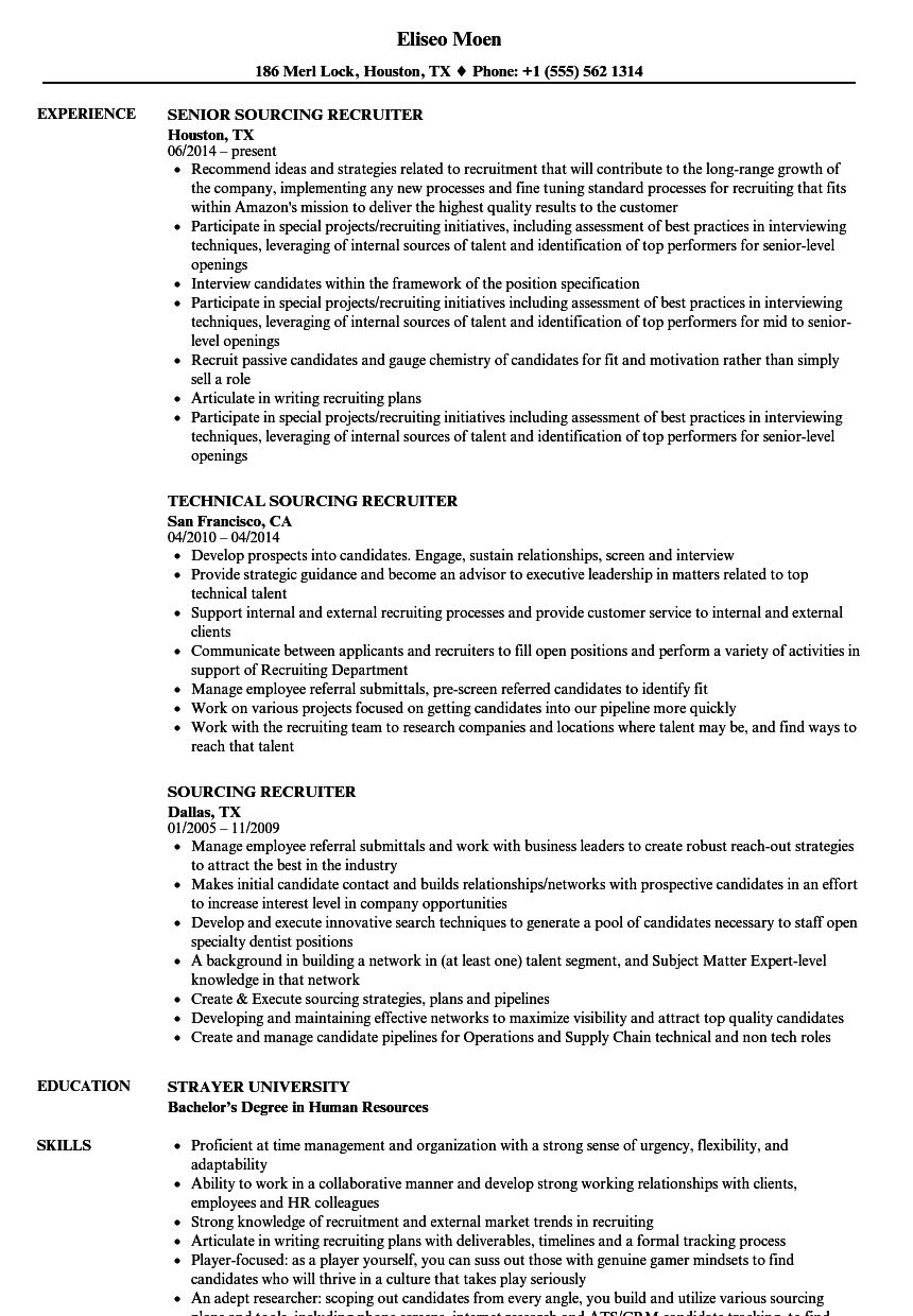 Sourcing Recruiter Resume Samples | Velvet Jobs