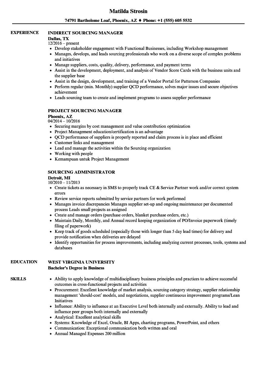 sourcing resume samples