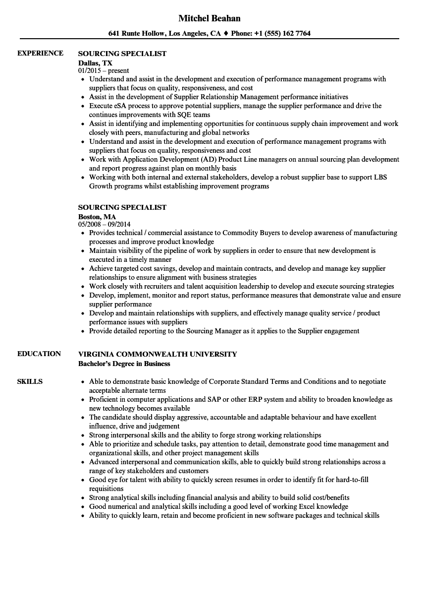 Sourcing Specialist Resume Samples | Velvet Jobs