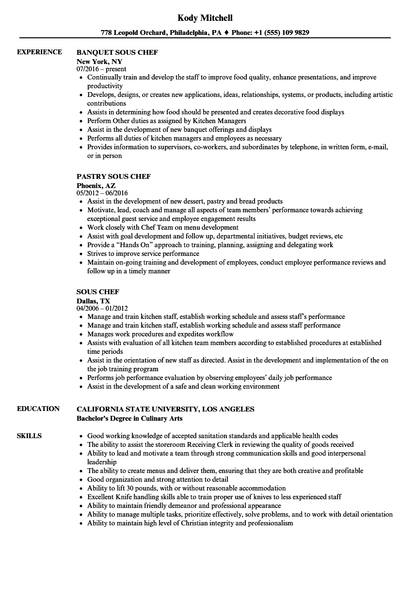 Sous Chef Resume Samples | Velvet Jobs