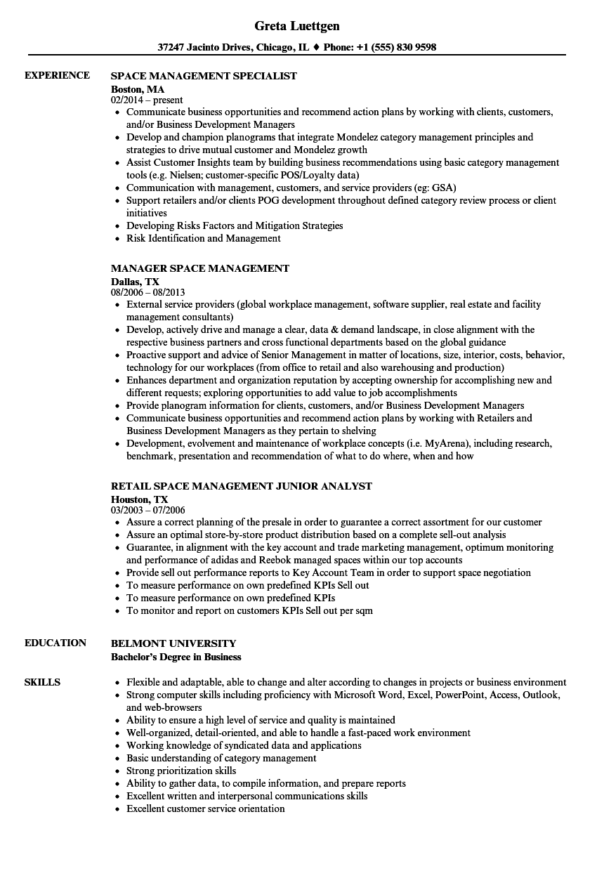 Space Management Resume Samples
