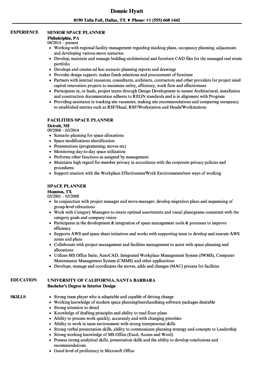 Download Space Planner Resume Sample As Image File