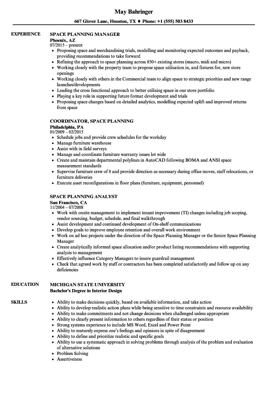 space planning resume samples