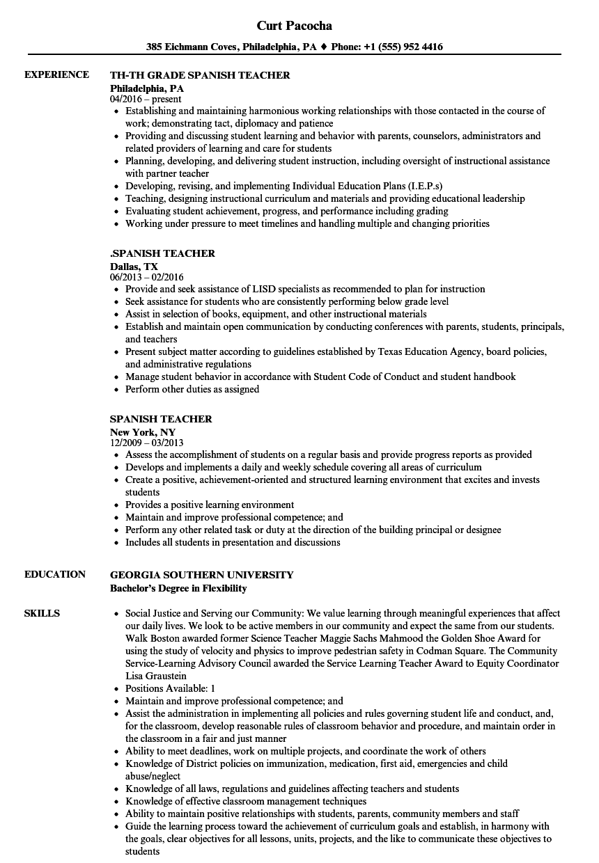 Spanish Teacher Resume Samples | Velvet Jobs
