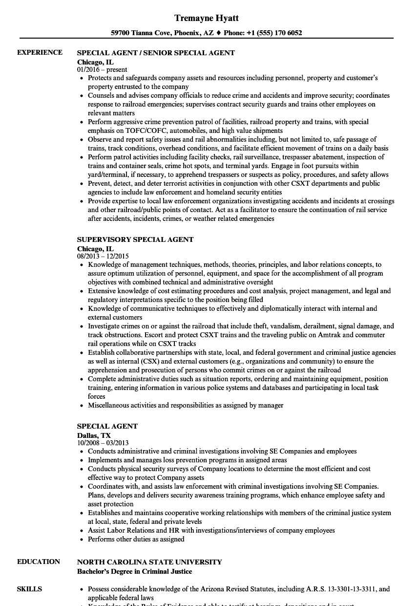 Download Special Agent Resume Sample As Image File