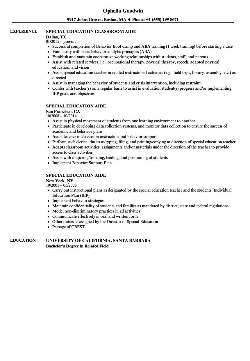 sample resume special education assistant