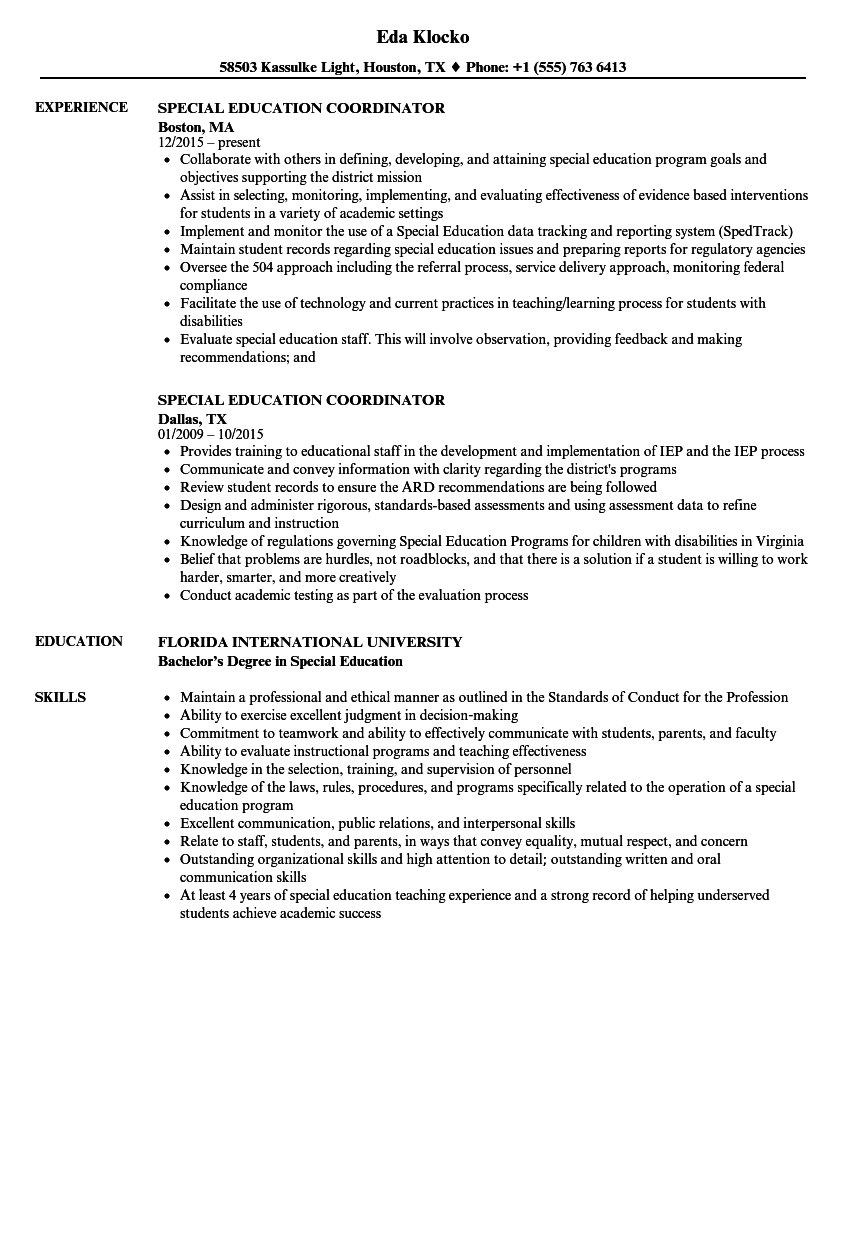 special education coordinator resume samples