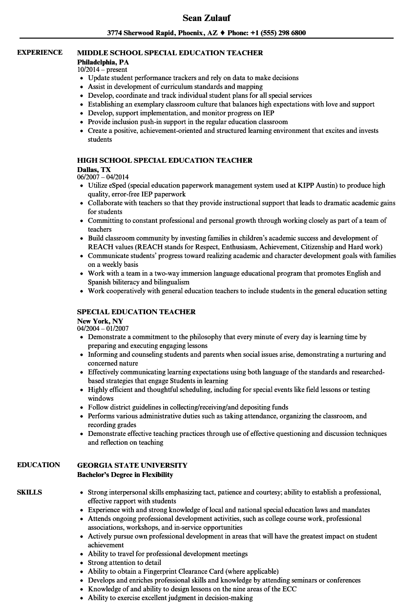 sample special education teacher resume