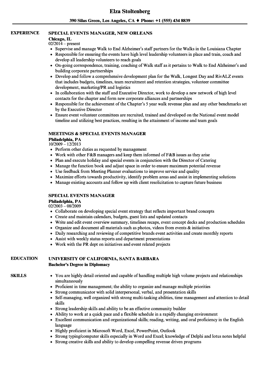Download Special Events Manager Resume Sample As Image File  Events Manager Resume
