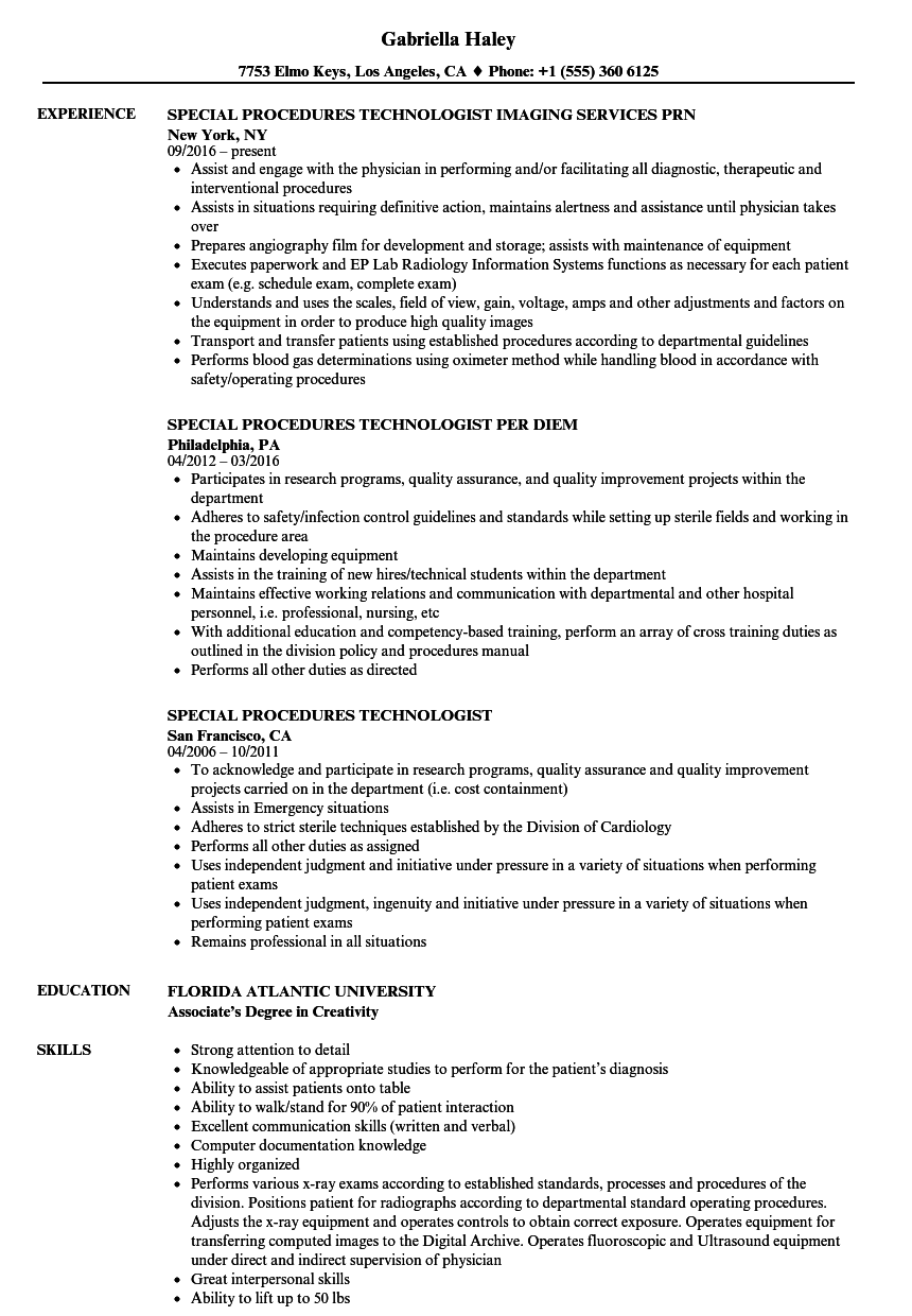 Special Procedures Technologist Resume Samples | Velvet Jobs