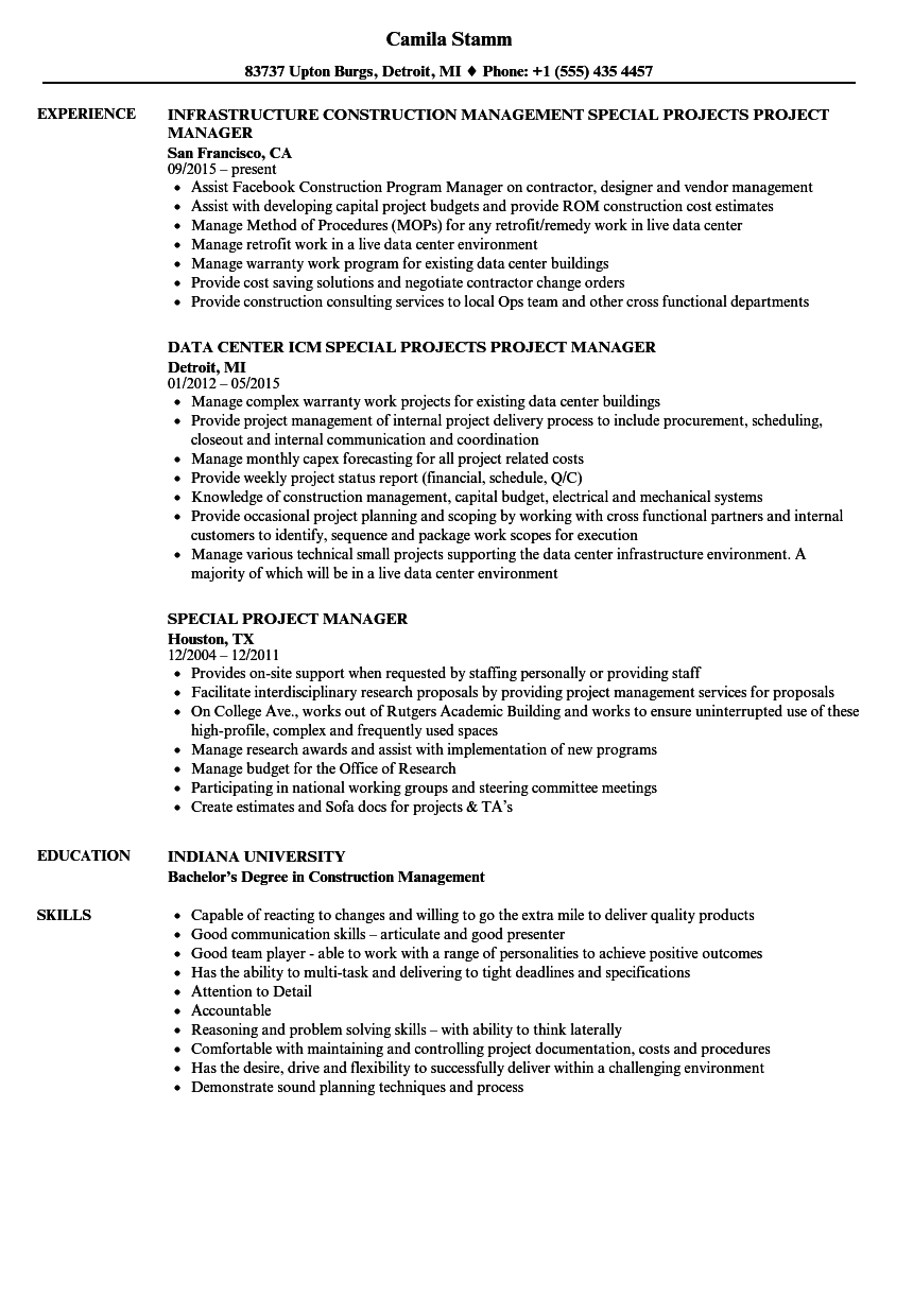 Special Project Manager Resume Samples | Velvet Jobs