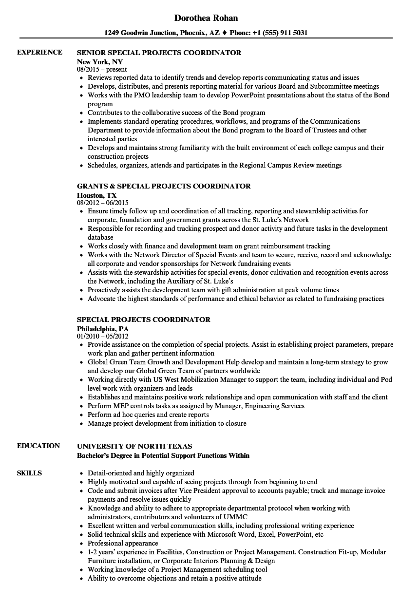 Special Projects Coordinator Resume