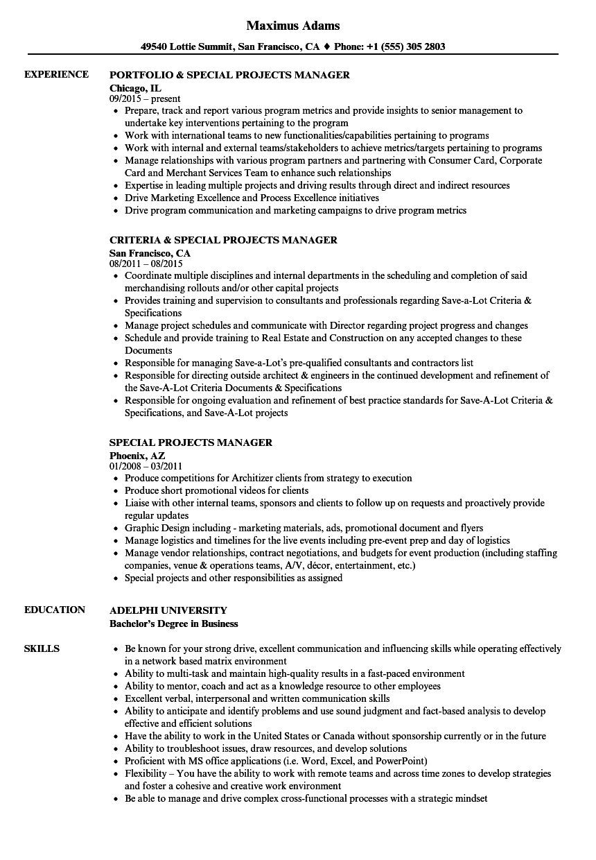 Special Projects Manager Resume Samples   Velvet Jobs