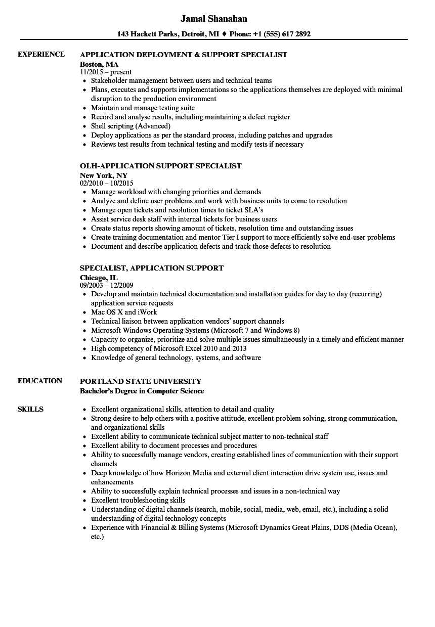 Specialist, Application Support Resume Samples | Velvet Jobs