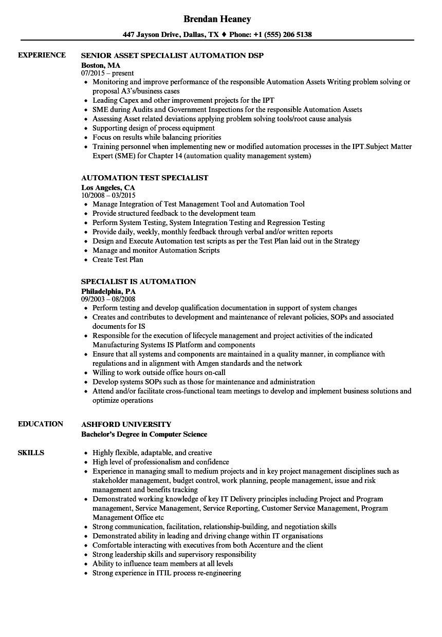 specialist automation resume samples