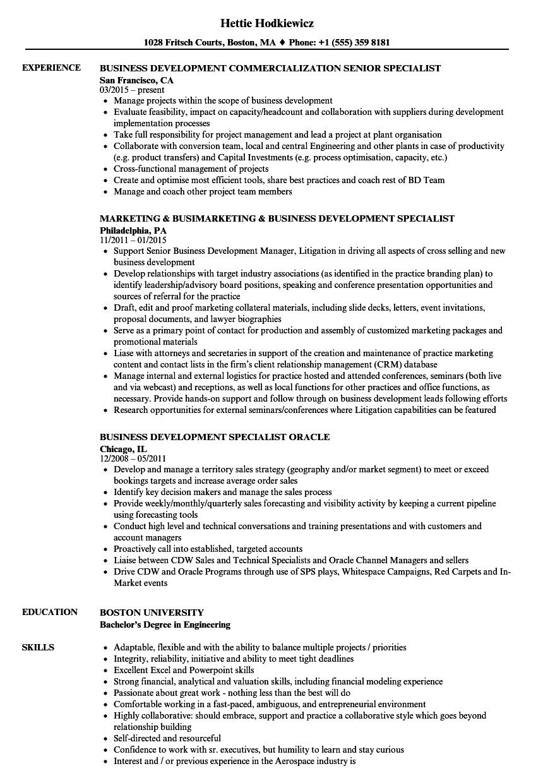 Specialist Business Development Resume Samples Velvet Jobs
