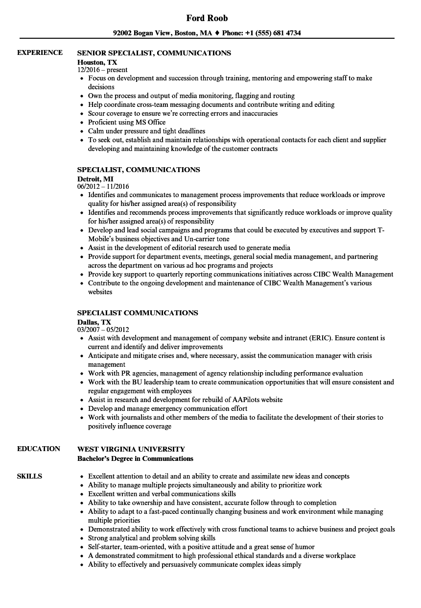 specialist  communications resume samples
