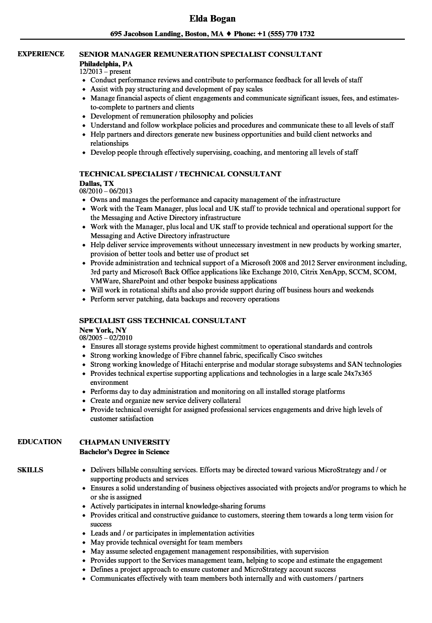 Specialist Consultant Resume Samples | Velvet Jobs