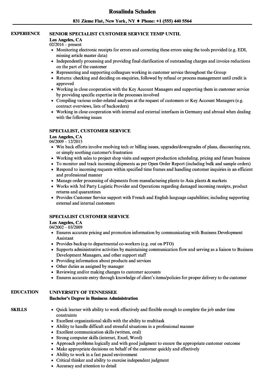 specialist customer service resume samples  velvet jobs