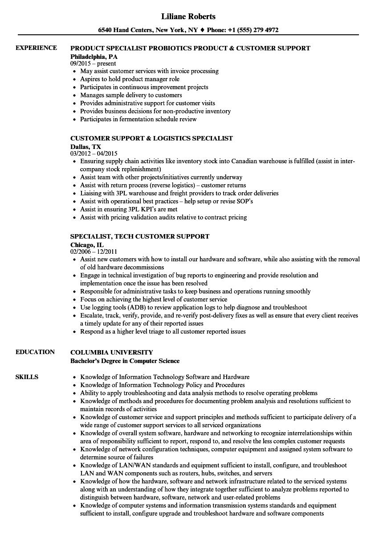 Specialist, Customer Support Resume Samples | Velvet Jobs