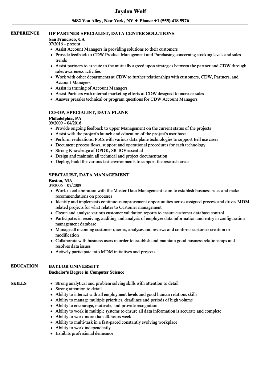 Specialist Data Resume Samples | Velvet Jobs