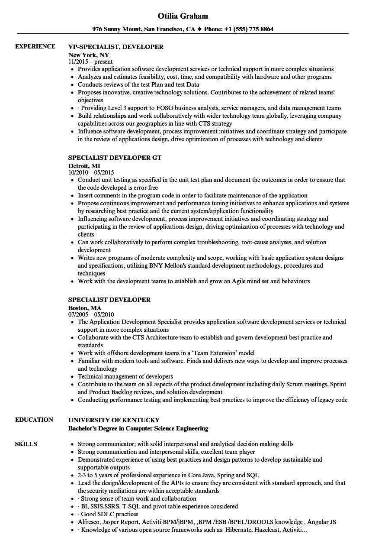 specialist developer resume samples