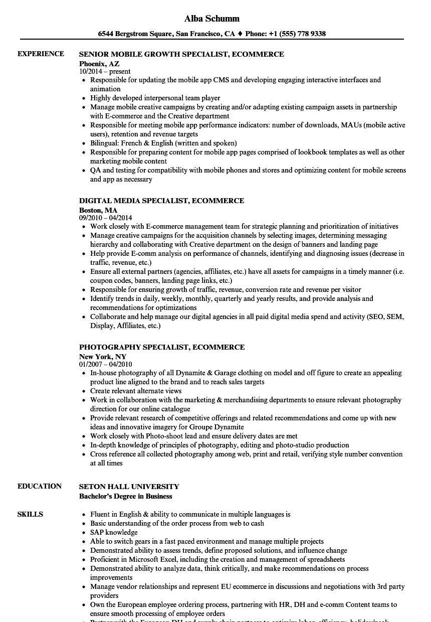 Specialist Ecommerce Resume Samples Velvet Jobs