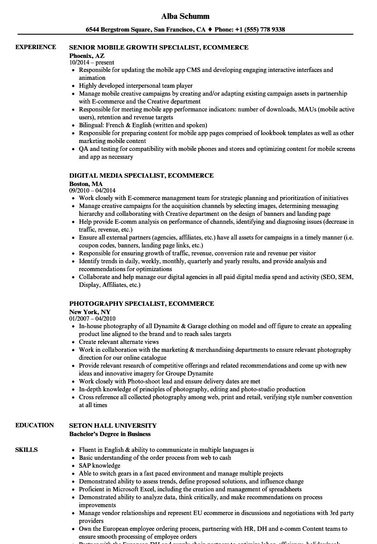 specialist ecommerce resume samples velvet jobs