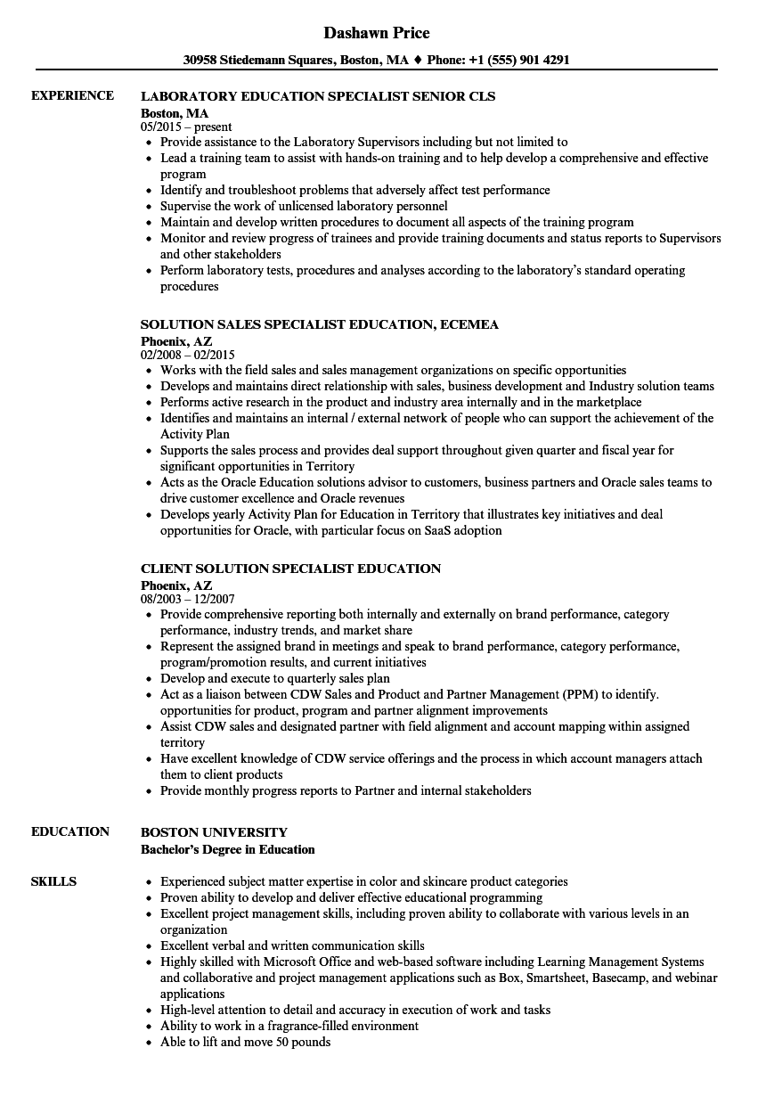 specialist  education resume samples