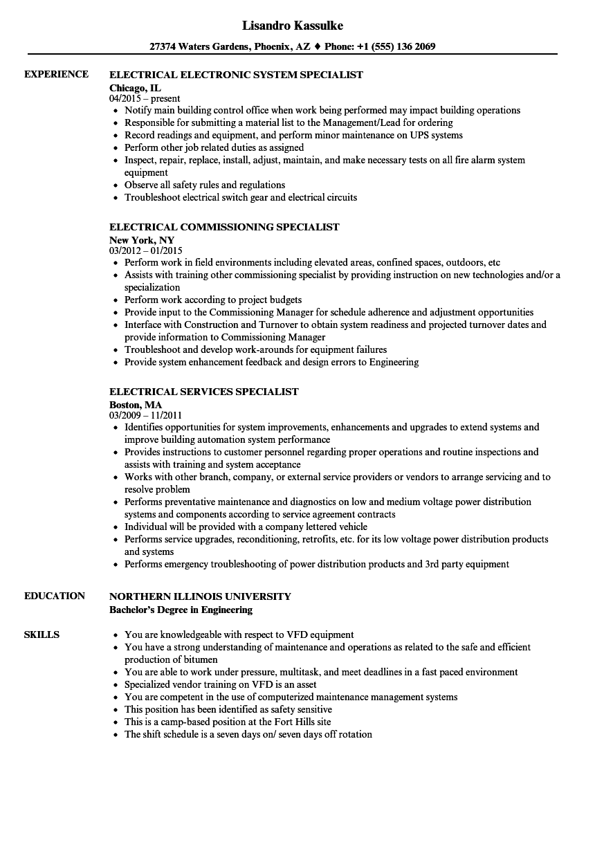 specialist  electrical resume samples