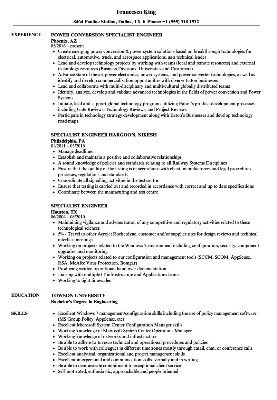 Specialist Engineer Resume Samples | Velvet Jobs