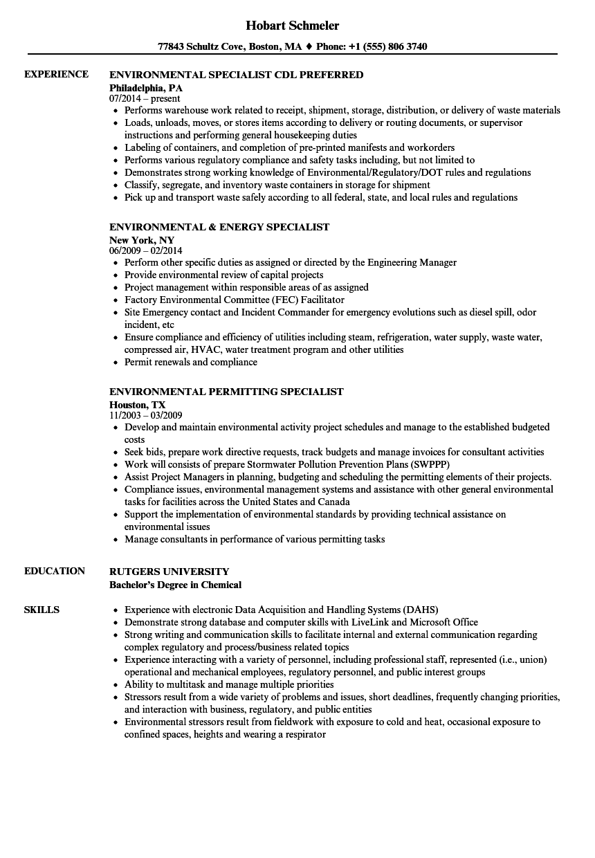specialist  environmental resume samples