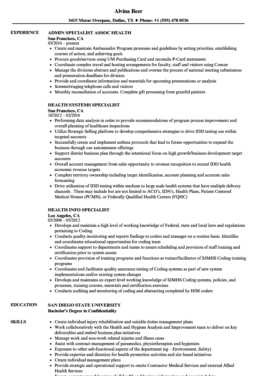 specialist health resume samples