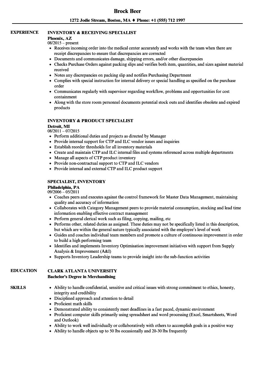 Specialist  Inventory Resume Samples