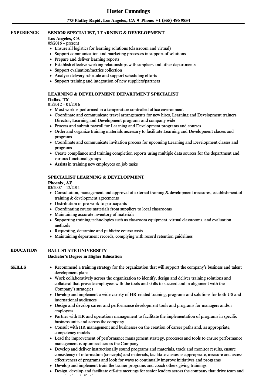 Specialist Learning & Development Resume Samples | Velvet Jobs
